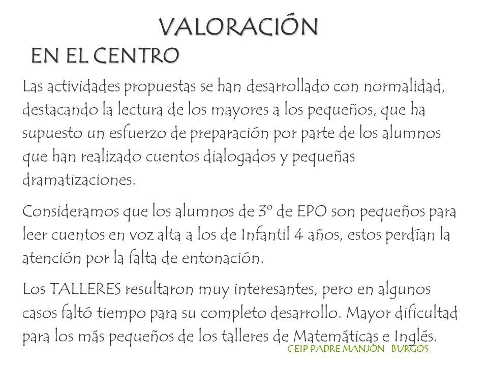 VALORACIÓN EN EL CENTRO