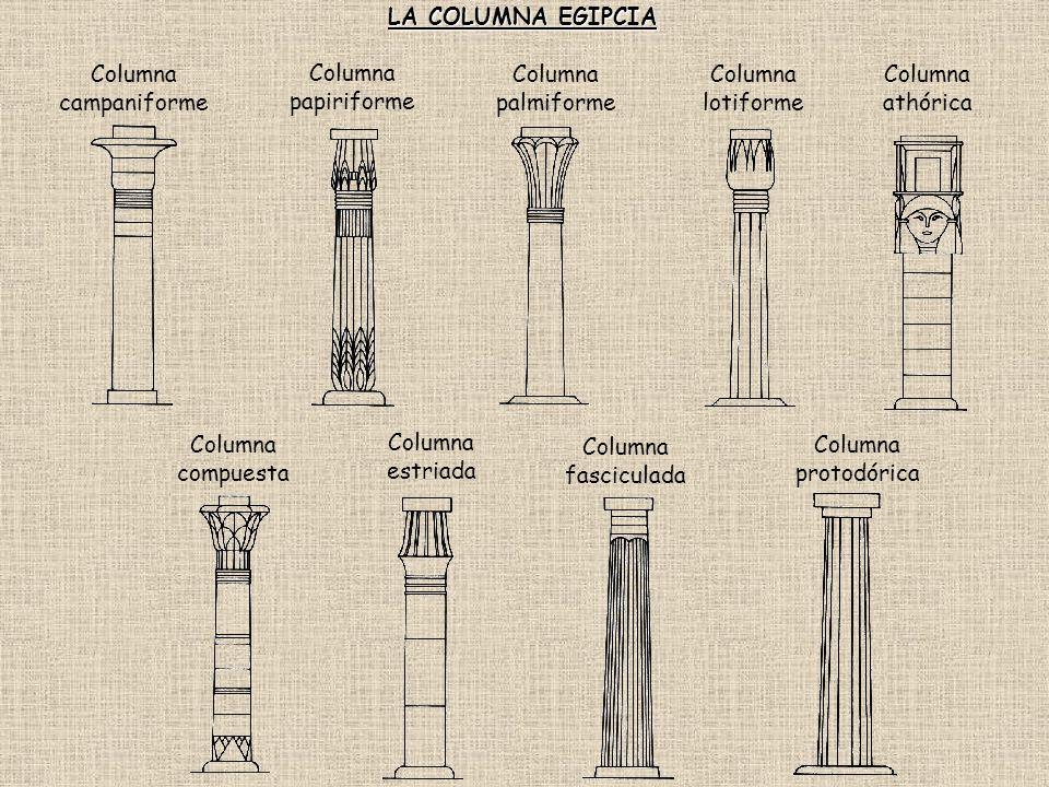 LA COLUMNA EGIPCIA Columna campaniforme. Columna papiriforme. Columna palmiforme. Columna lotiforme.