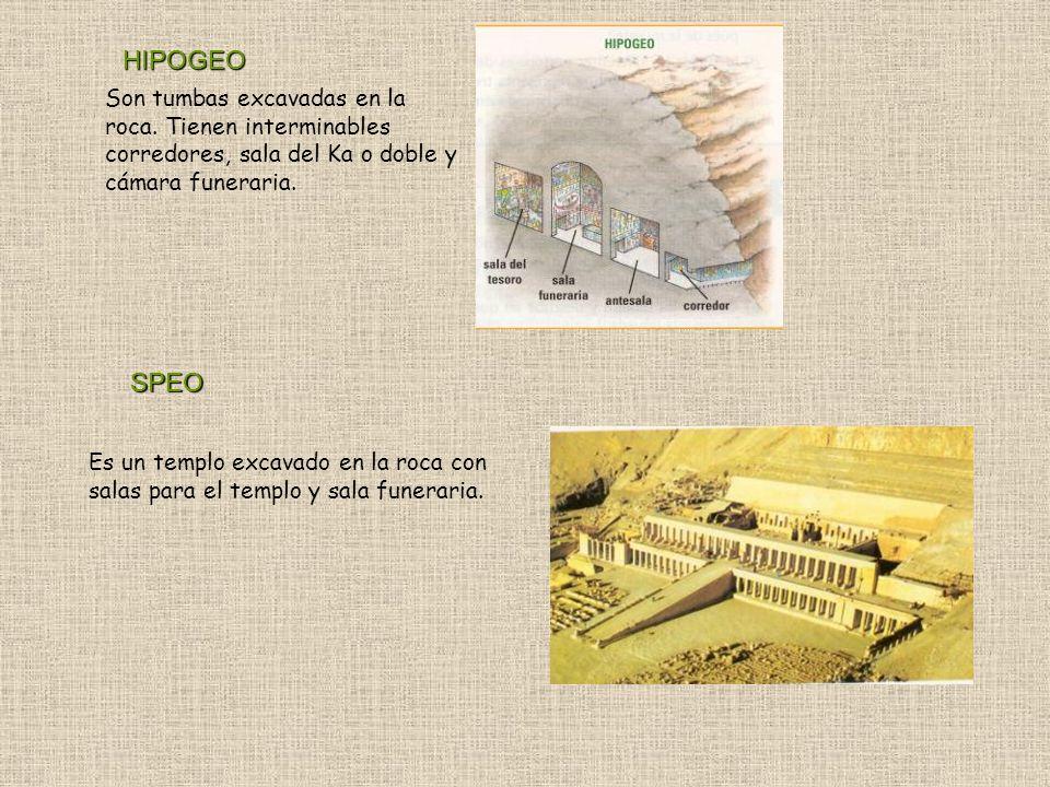 HIPOGEO Son tumbas excavadas en la roca. Tienen interminables corredores, sala del Ka o doble y cámara funeraria.