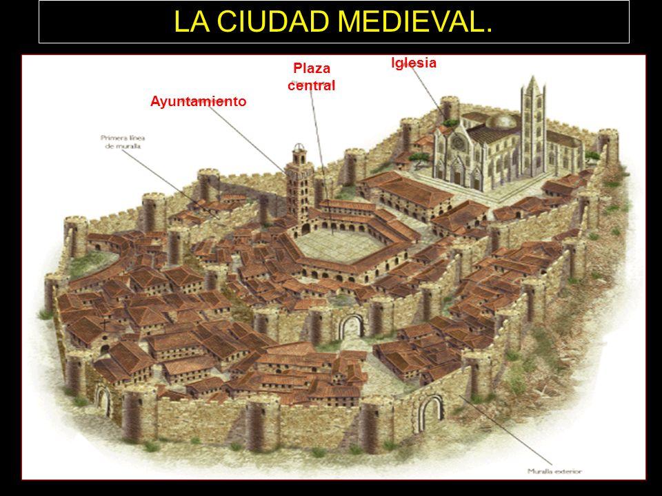 LA CIUDAD MEDIEVAL. Iglesia Plaza central Ayuntamiento