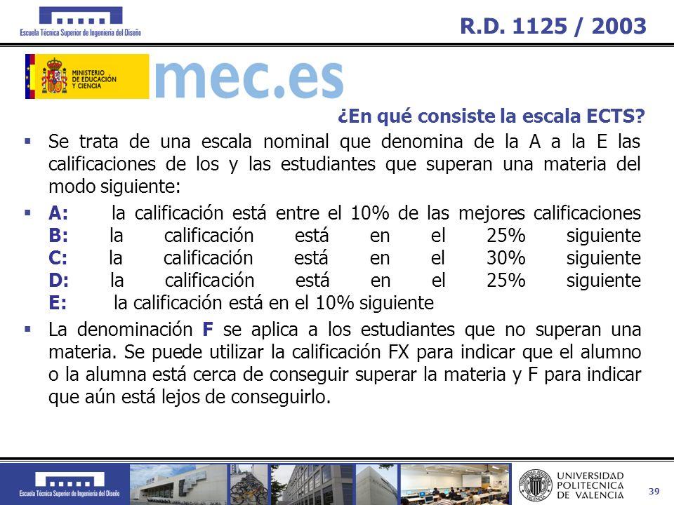 R.D. 1125 / 2003 ¿En qué consiste la escala ECTS
