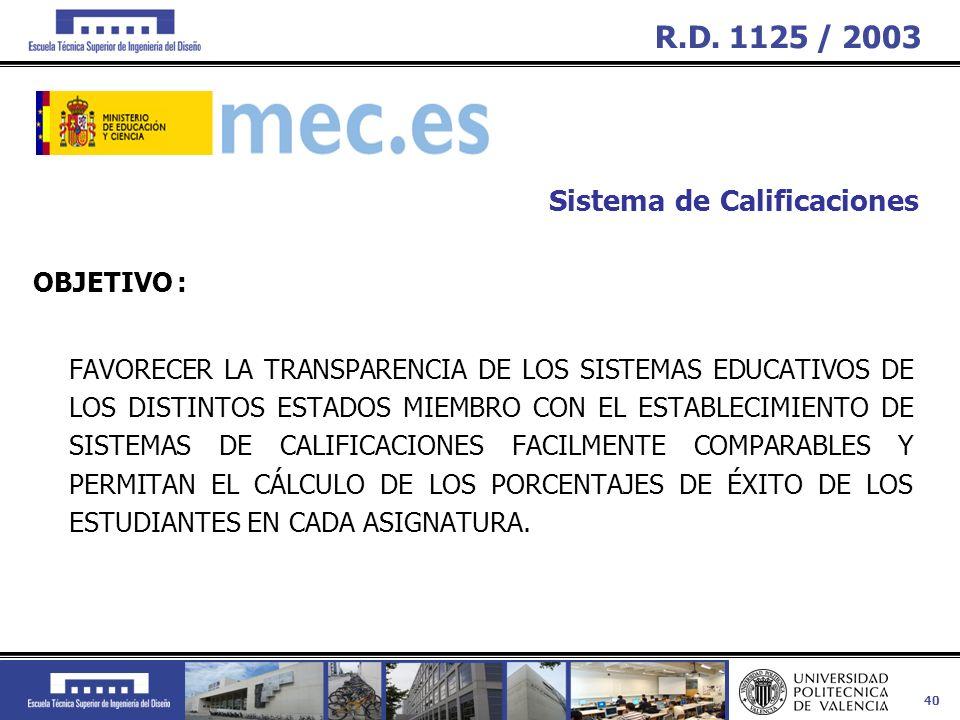 R.D. 1125 / 2003 Sistema de Calificaciones OBJETIVO :