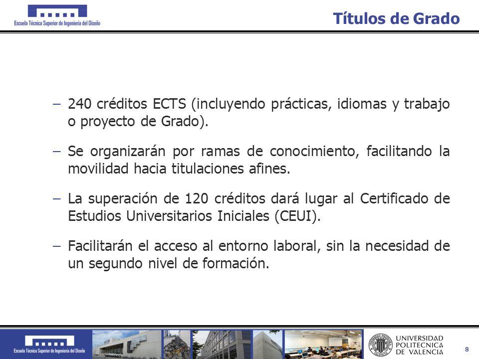 Títulos de Grado 240 créditos ECTS (incluyendo prácticas, idiomas y trabajo o proyecto de Grado).
