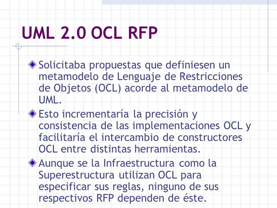 UML 2.0 OCL RFP Solicitaba propuestas que definiesen un metamodelo de Lenguaje de Restricciones de Objetos (OCL) acorde al metamodelo de UML.
