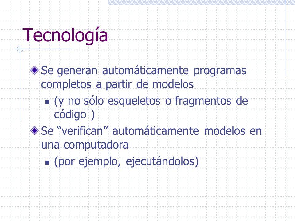 Tecnología Se generan automáticamente programas completos a partir de modelos. (y no sólo esqueletos o fragmentos de código )