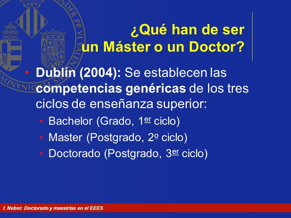 ¿Qué han de ser un Máster o un Doctor