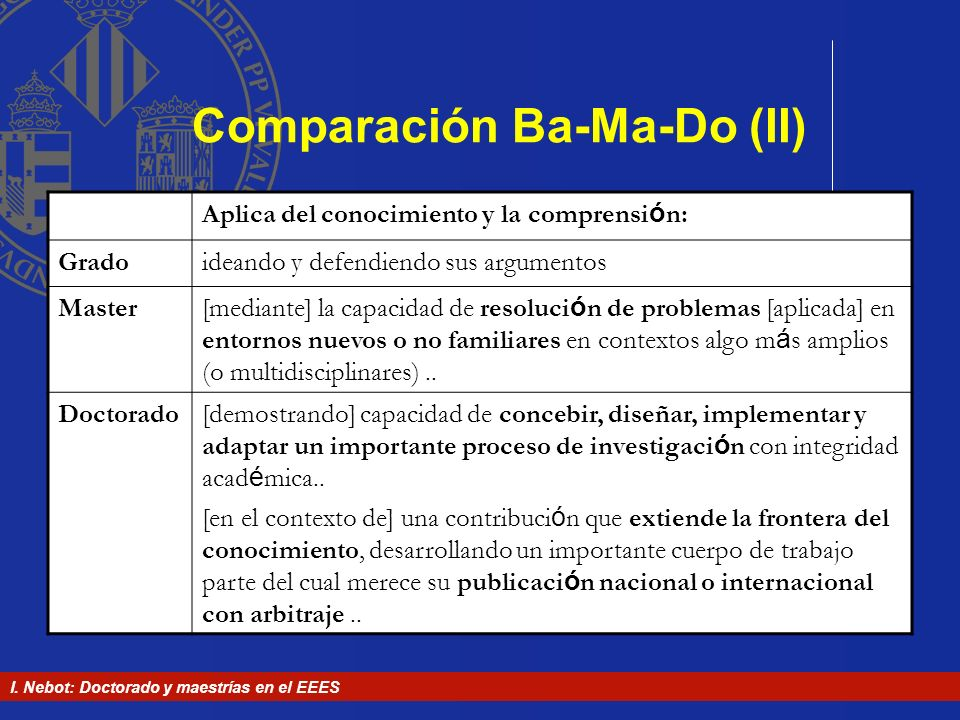 Comparación Ba-Ma-Do (II)