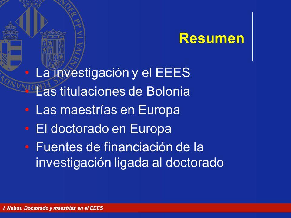Resumen La investigación y el EEES Las titulaciones de Bolonia