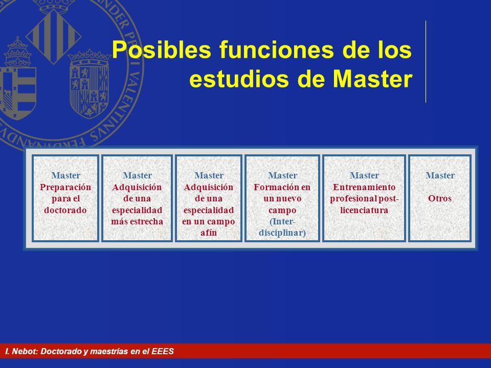 Posibles funciones de los estudios de Master