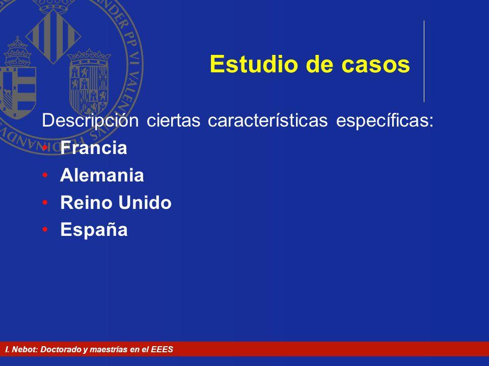 Estudio de casos Descripción ciertas características específicas: