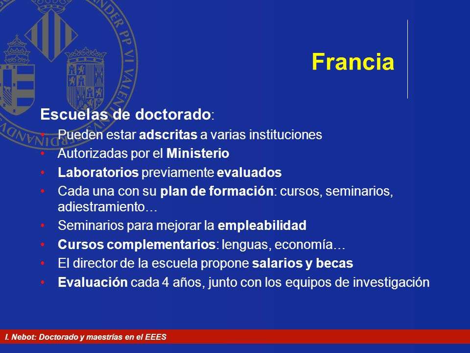Francia Escuelas de doctorado: