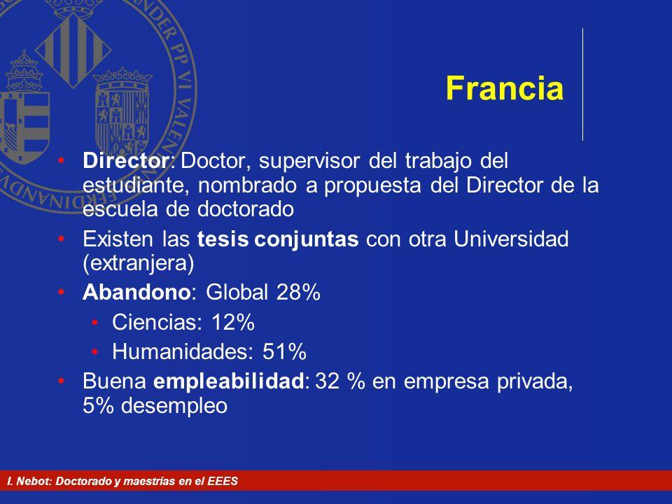 Francia Director: Doctor, supervisor del trabajo del estudiante, nombrado a propuesta del Director de la escuela de doctorado.