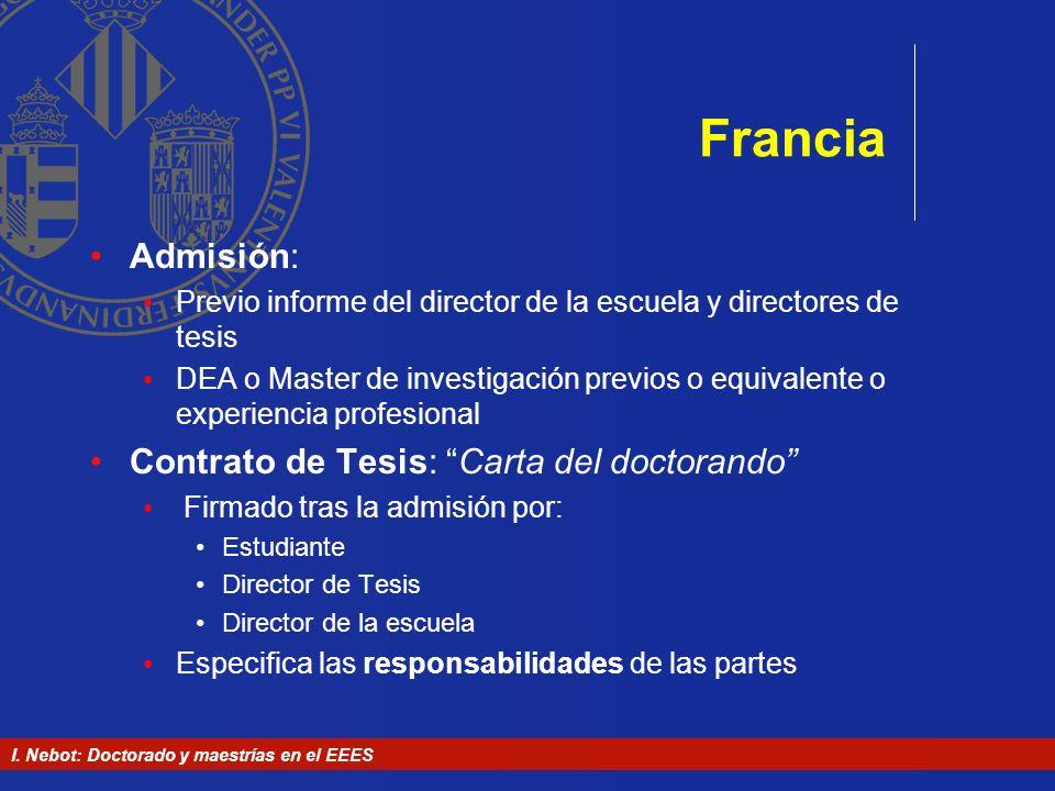 Francia Admisión: Contrato de Tesis: Carta del doctorando