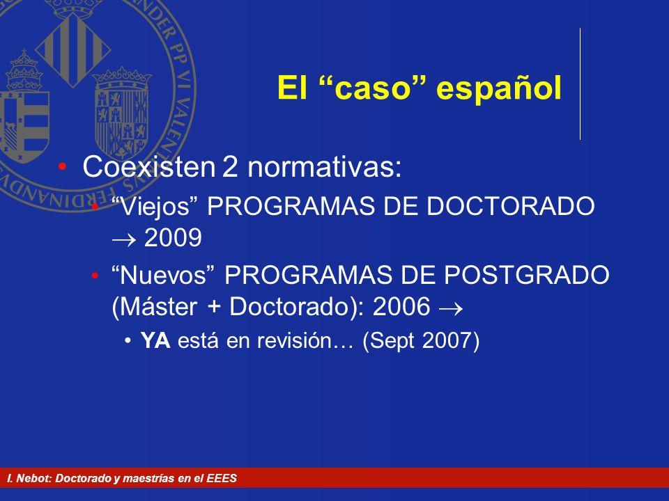 El caso español Coexisten 2 normativas: