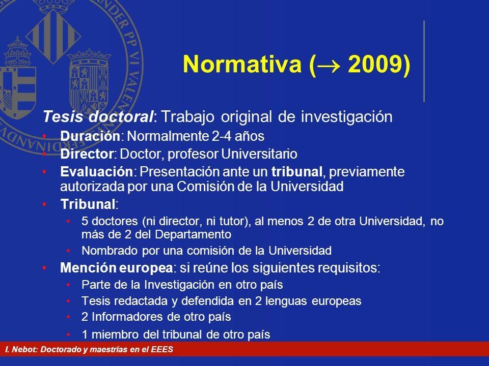 Normativa ( 2009) Tesis doctoral: Trabajo original de investigación