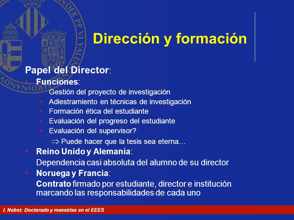 Dirección y formación Papel del Director: Funciones:
