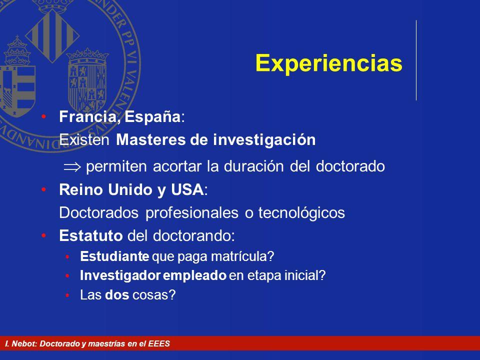 Experiencias Francia, España: Existen Masteres de investigación