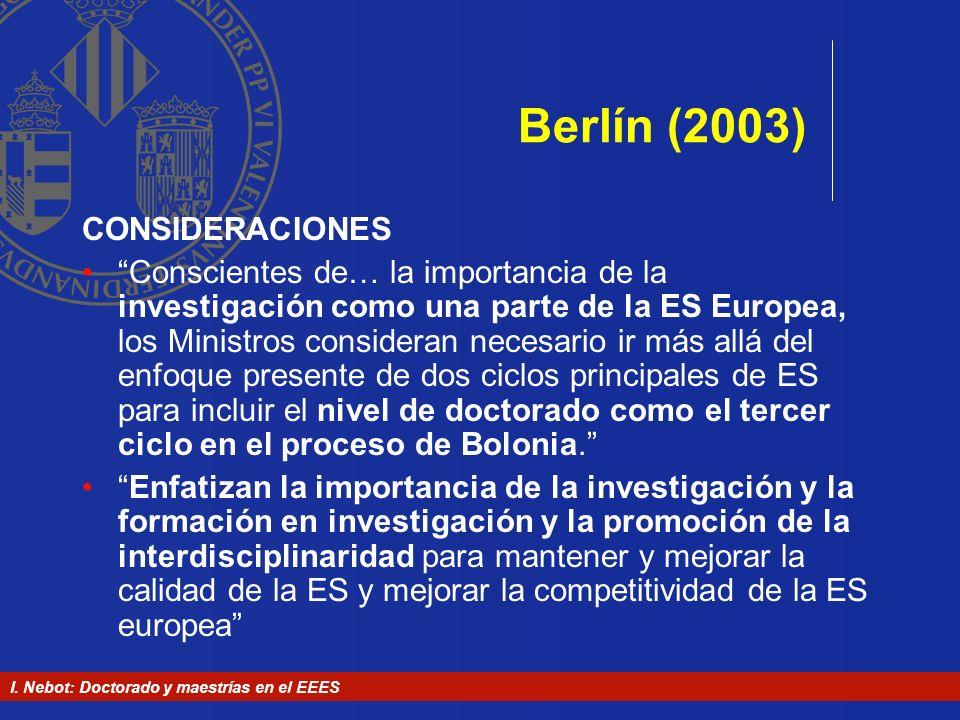 Berlín (2003) CONSIDERACIONES