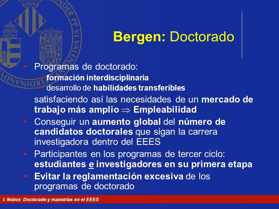Bergen: Doctorado Programas de doctorado: