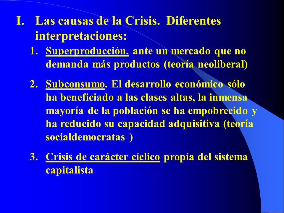 Las causas de la Crisis. Diferentes interpretaciones: