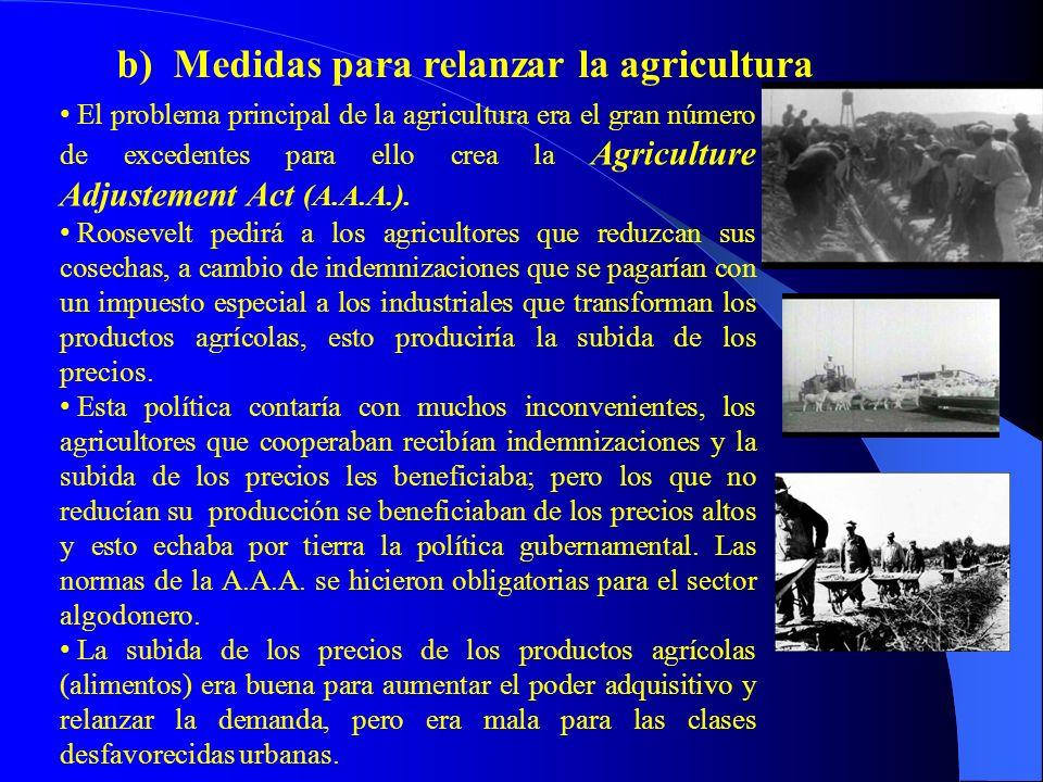 b) Medidas para relanzar la agricultura