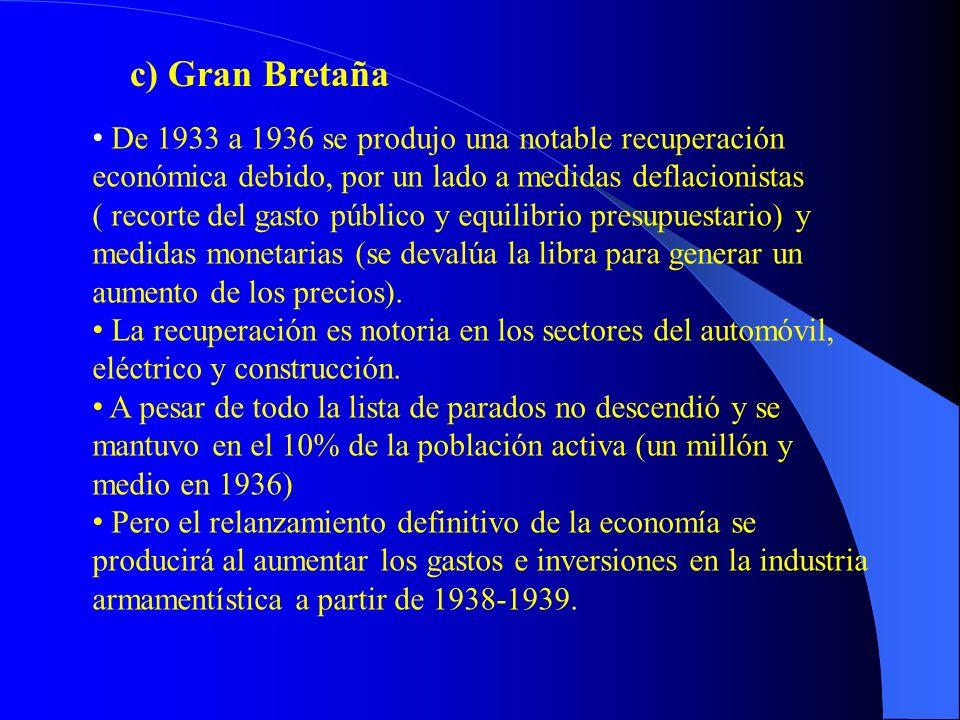 c) Gran Bretaña De 1933 a 1936 se produjo una notable recuperación económica debido, por un lado a medidas deflacionistas.