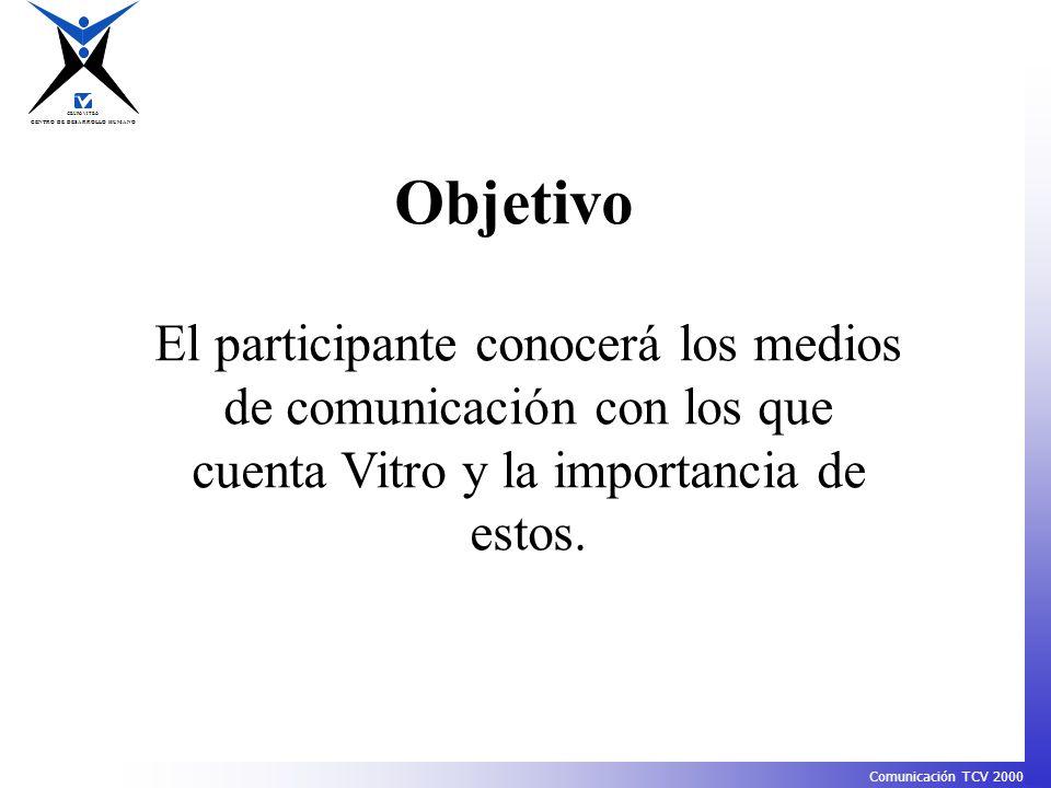 Objetivo El participante conocerá los medios de comunicación con los que cuenta Vitro y la importancia de estos.