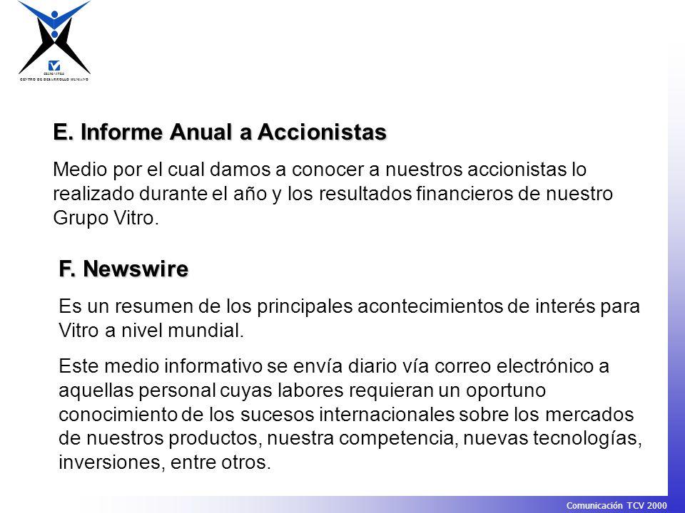 E. Informe Anual a Accionistas