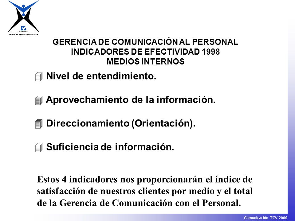 GERENCIA DE COMUNICACIÓN AL PERSONAL INDICADORES DE EFECTIVIDAD 1998
