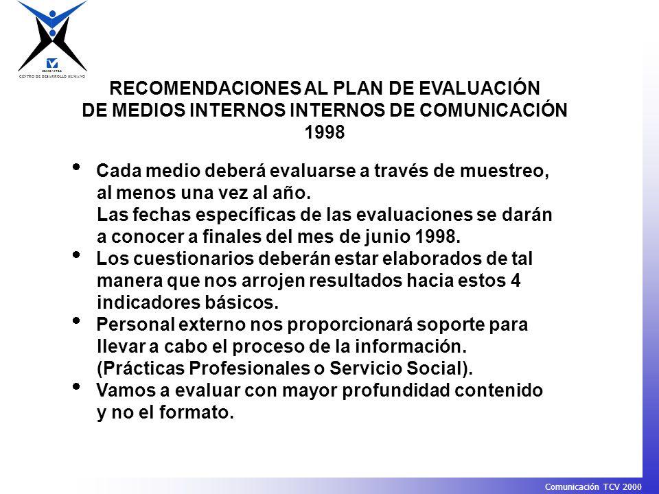 RECOMENDACIONES AL PLAN DE EVALUACIÓN