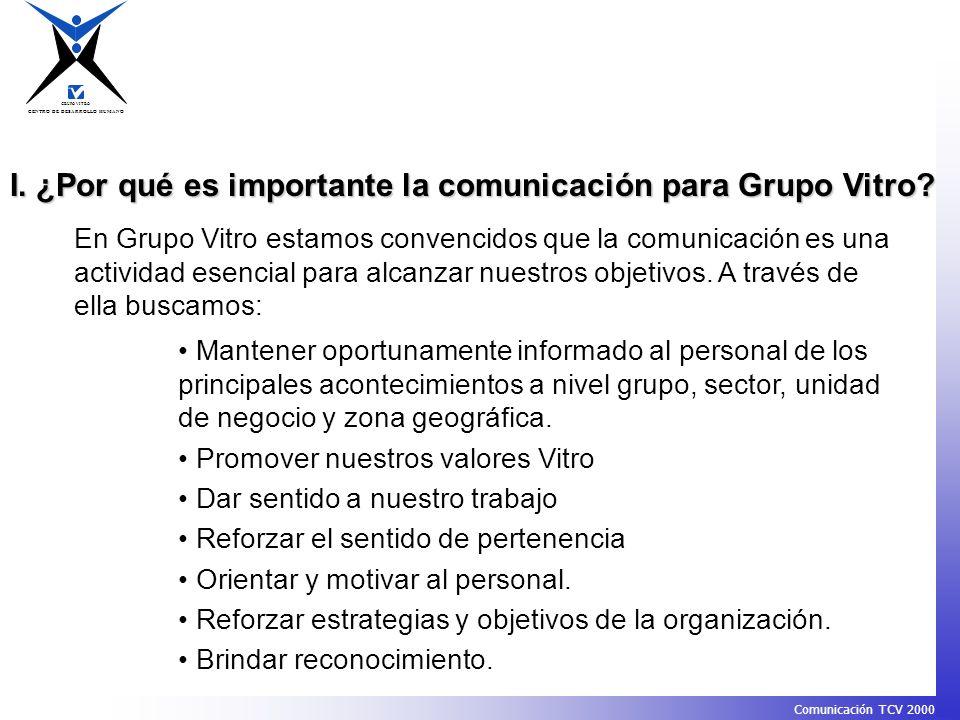 I. ¿Por qué es importante la comunicación para Grupo Vitro
