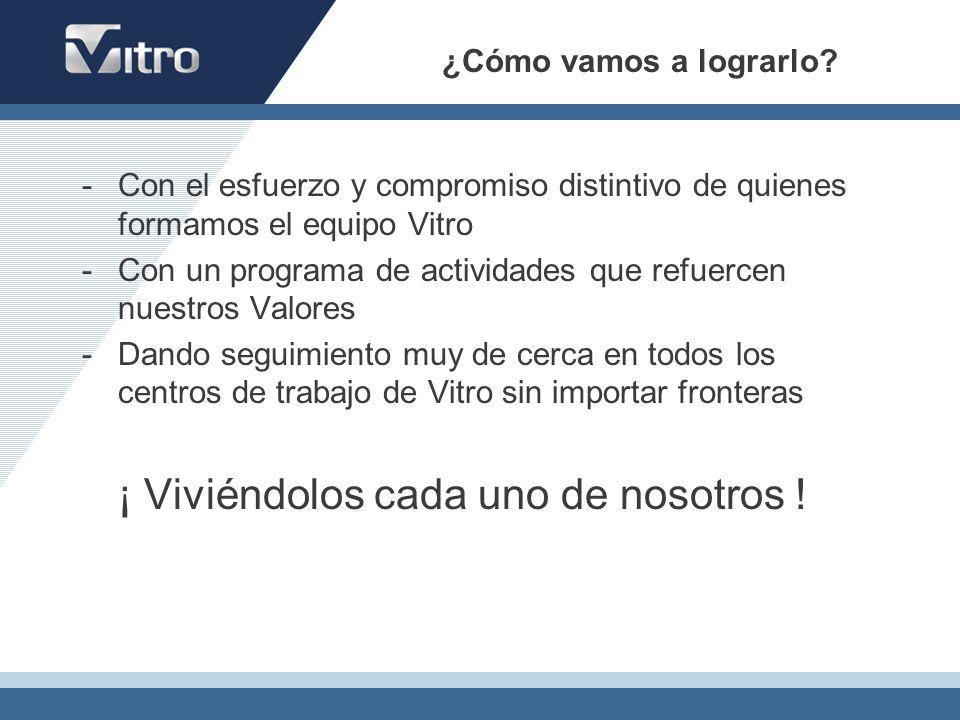 ¿Cómo vamos a lograrlo Con el esfuerzo y compromiso distintivo de quienes formamos el equipo Vitro.