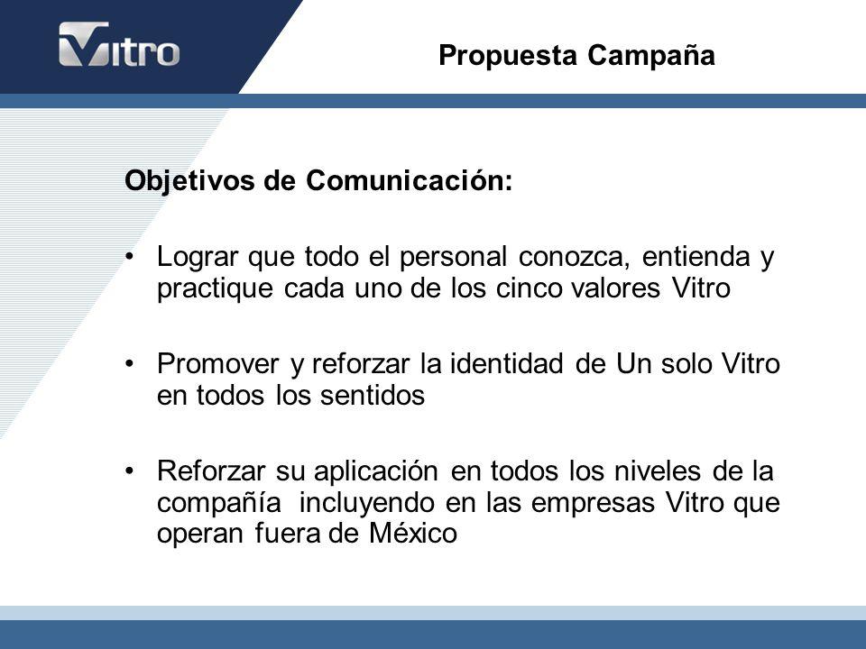 Propuesta Campaña Objetivos de Comunicación: Lograr que todo el personal conozca, entienda y practique cada uno de los cinco valores Vitro.