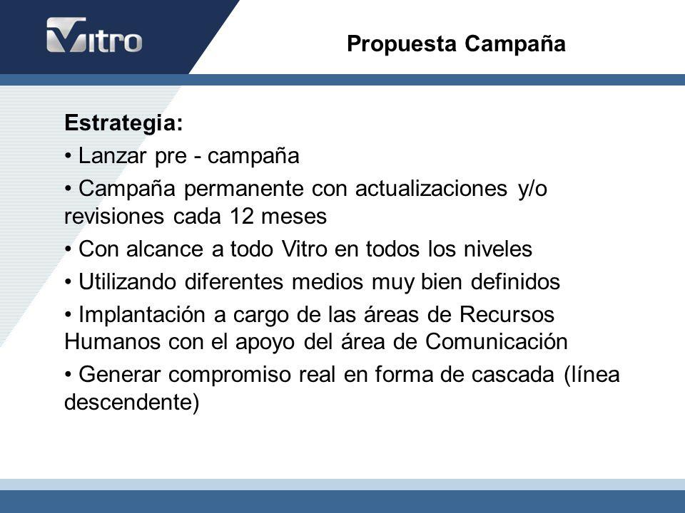 Propuesta Campaña Estrategia: Lanzar pre - campaña. Campaña permanente con actualizaciones y/o revisiones cada 12 meses.