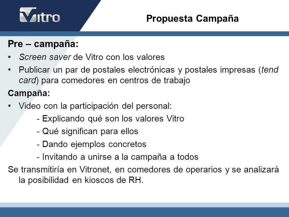 Propuesta Campaña Pre – campaña: Screen saver de Vitro con los valores