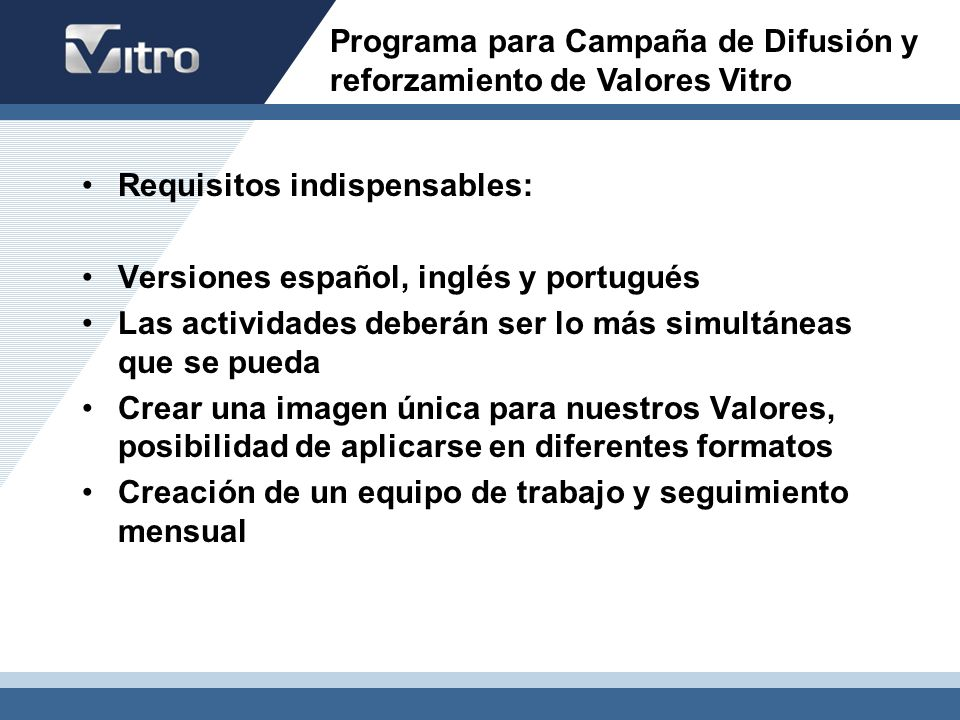 Programa para Campaña de Difusión y reforzamiento de Valores Vitro