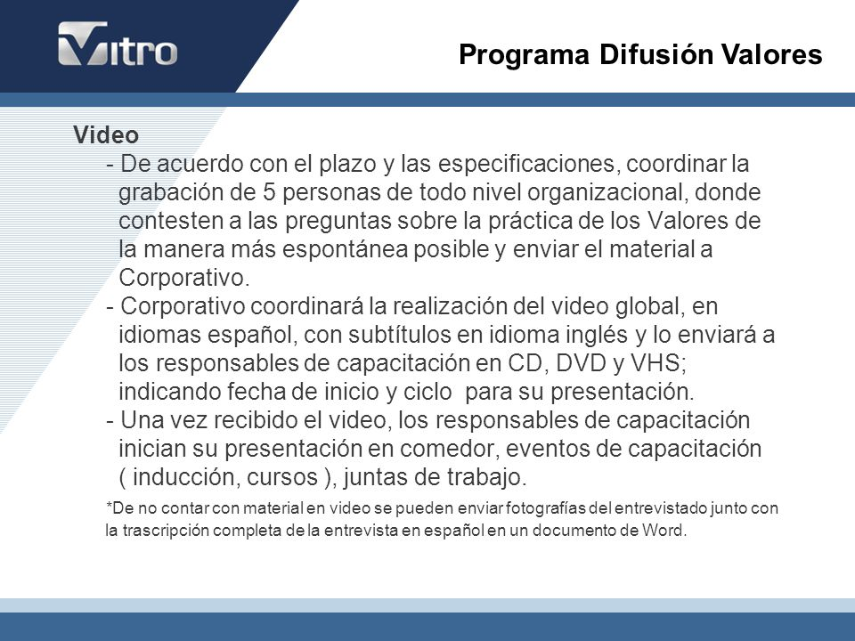 Programa Difusión Valores