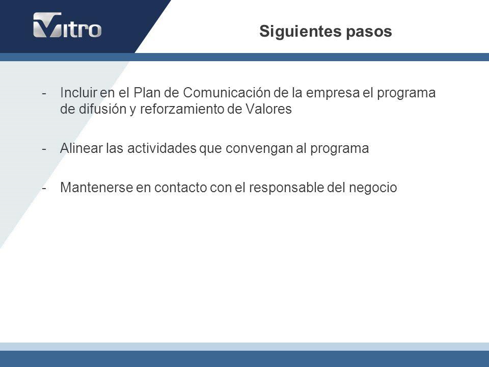 Siguientes pasos Incluir en el Plan de Comunicación de la empresa el programa de difusión y reforzamiento de Valores.