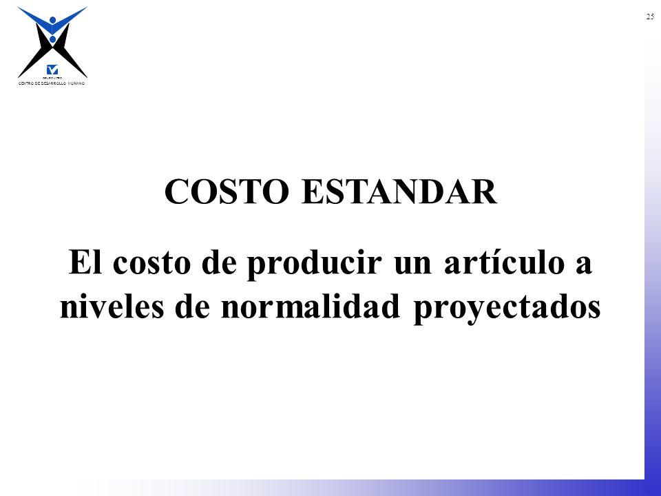 El costo de producir un artículo a niveles de normalidad proyectados