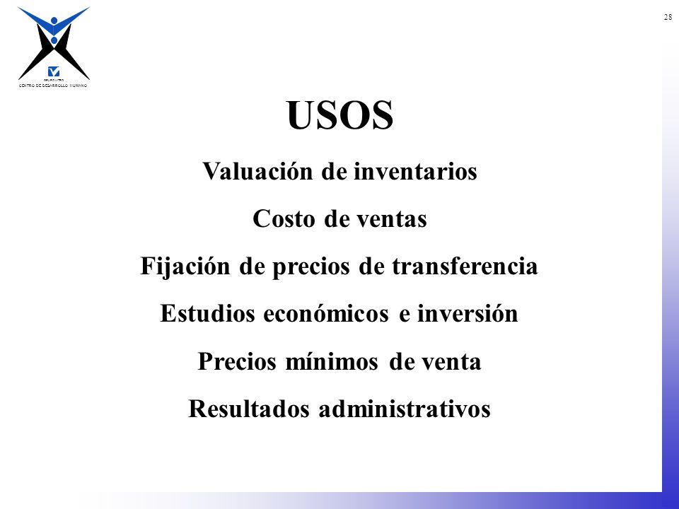 USOS Valuación de inventarios Costo de ventas