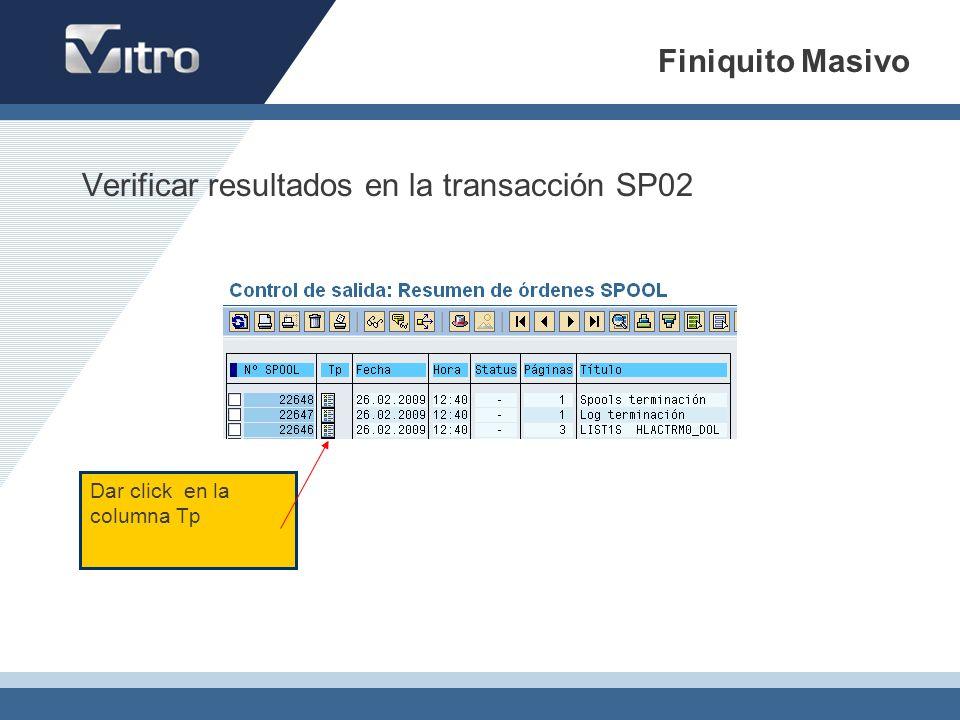 Verificar resultados en la transacción SP02