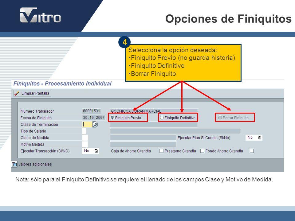 Opciones de Finiquitos