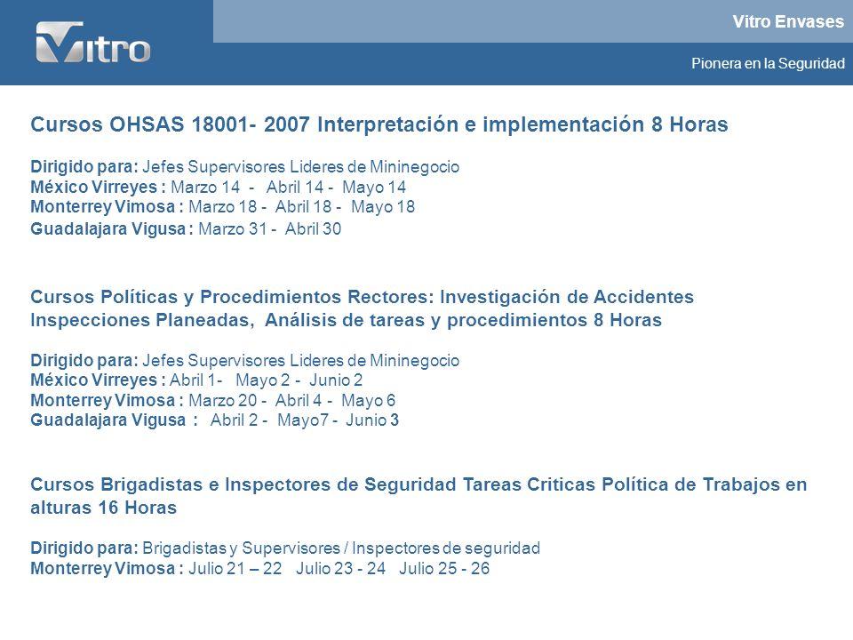 Cursos OHSAS 18001- 2007 Interpretación e implementación 8 Horas