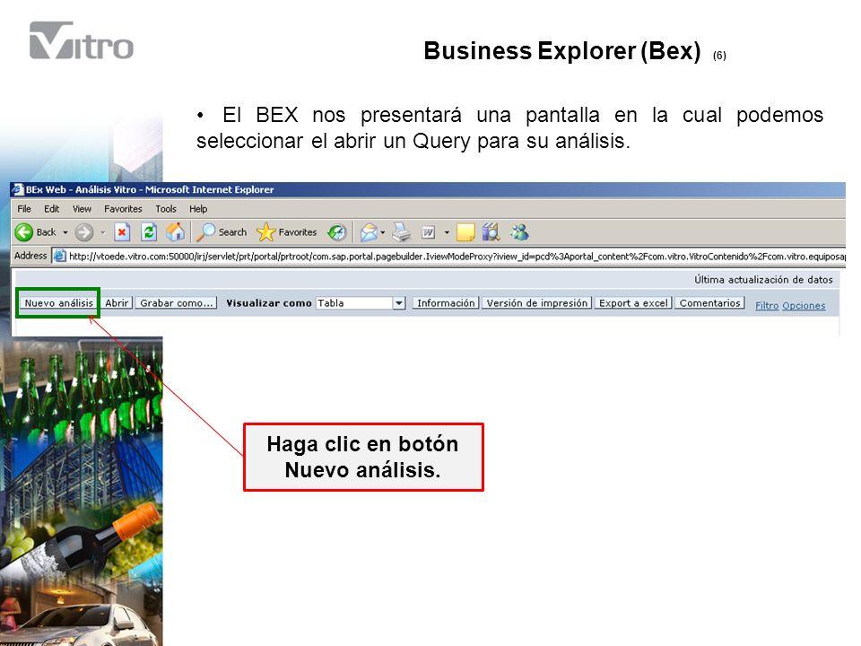 Business Explorer (Bex) (6) Haga clic en botón Nuevo análisis.