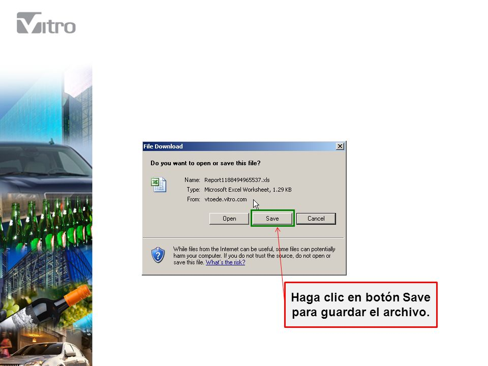 Haga clic en botón Save para guardar el archivo.