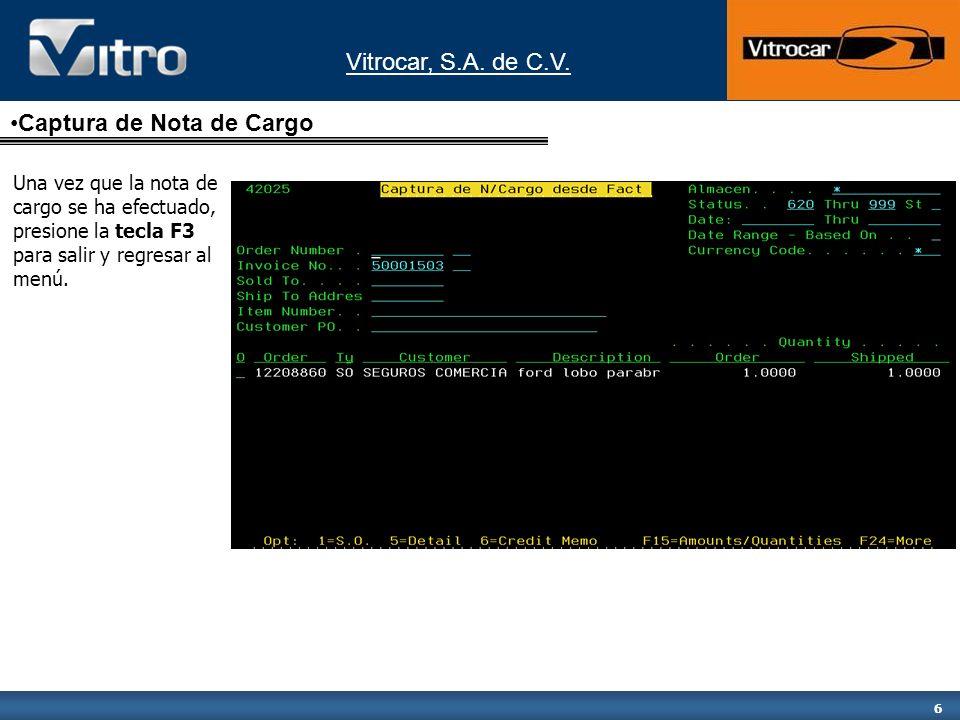 Captura de Nota de Cargo