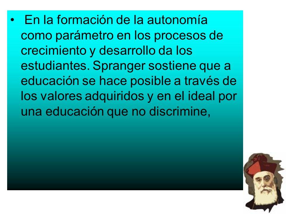 En la formación de la autonomía como parámetro en los procesos de crecimiento y desarrollo da los estudiantes.