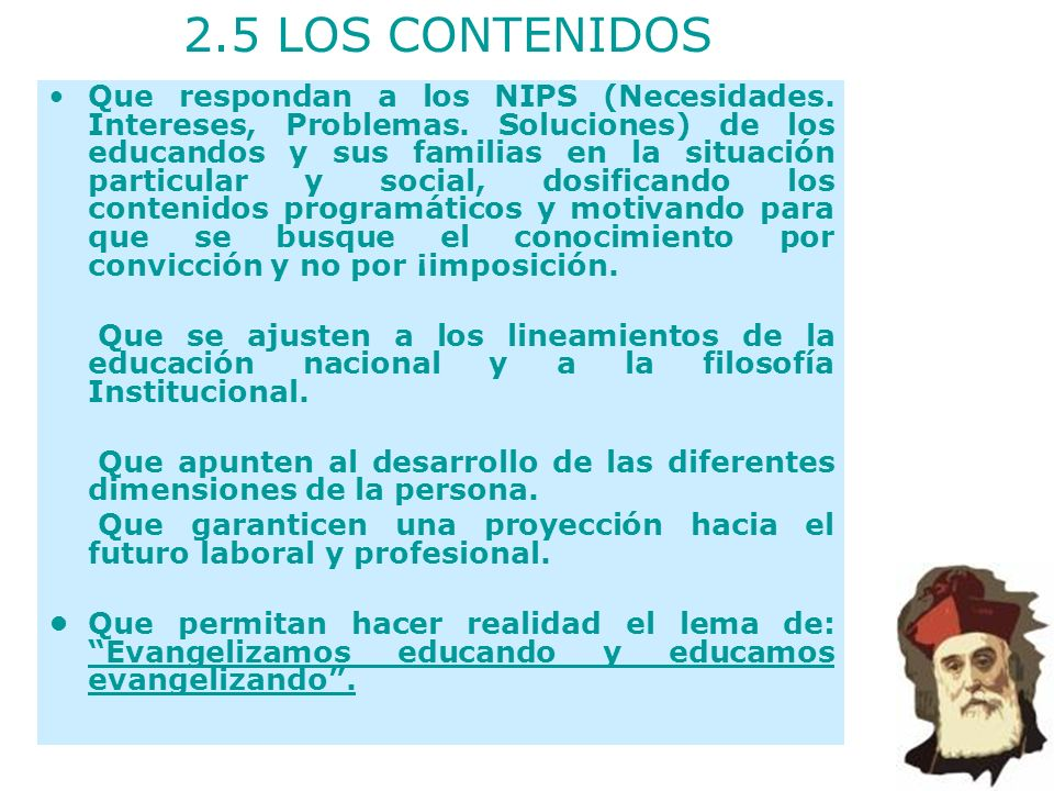 2.5 LOS CONTENIDOS
