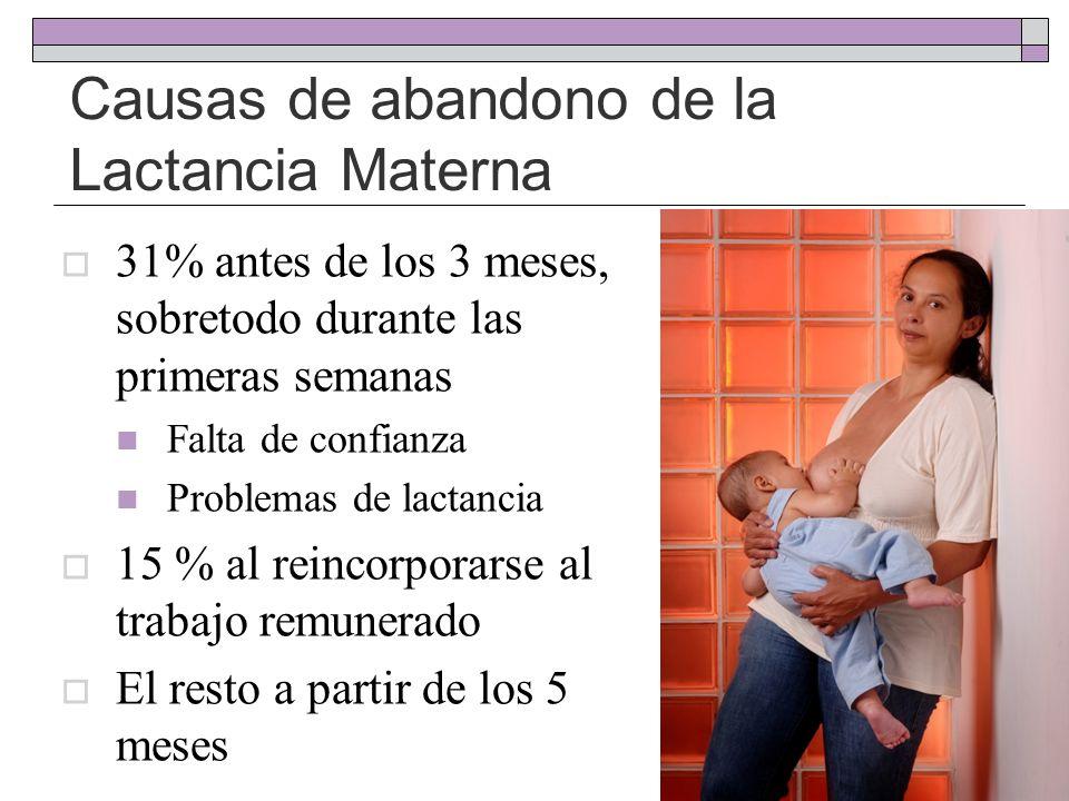 Causas de abandono de la Lactancia Materna