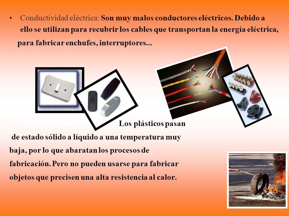 Conductividad eléctrica: Son muy malos conductores eléctricos